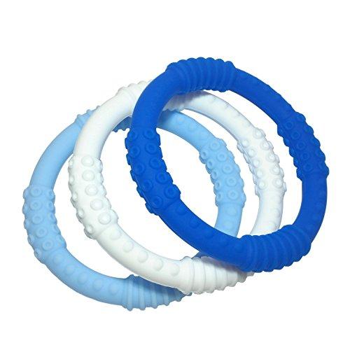 Teething Ring 3 Pack - mooi baby - Baby Teething Rings - BOY Baby Teether - 100 Silicone Infant Teether - No BPA - Non-Toxic - Soothing Gums - Teether Bracelet - Sensory Rings - Baby Teether Rings