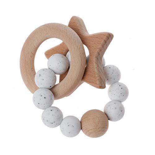 Sarora - Baby Teether Rings Beech Wood Teething Ring Bracelet Silicone Teethers Chew Toys