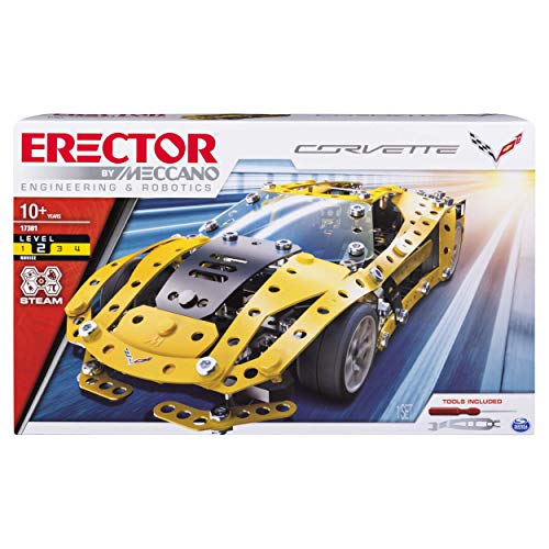 MECCANO Erector Chevrolet Corvette Model Stem Building Kit for Ages 10 Up Renewed