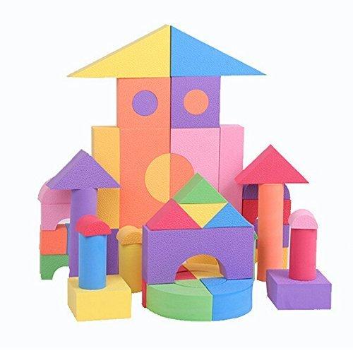 coffled 50 Pcs Baby Education EVA Foam Building Block Set Foambuilding Colored Blocks Toys Birthday Christams gift