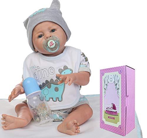 NPKTOYS Lifelike Reborn Baby Doll Boy 22 Full Vinyl Silicone Washable Toy Newborn Dolls