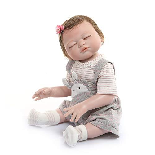 iCradle 20inch100 Hand-Made Lifelike Reborn Baby Soft Silicone Vinyl Doll Full Body Newborn Anatomically Correct Sleeping Girl Xmas Gift