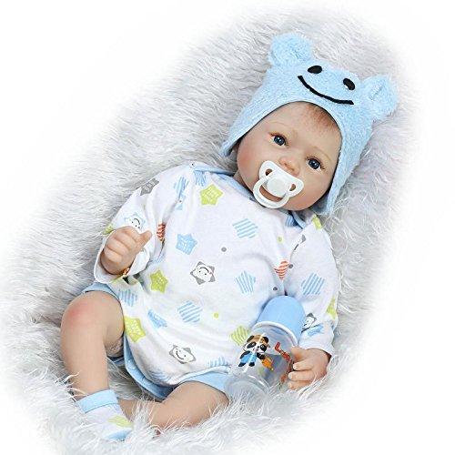iCradle 22inch55CM Soft Silicone Vinyl Lifelike Lovely Reborn Baby Dolls Handmade Cute Newborn Newborn Doll Boy Toy with Free Magnetic Pacifier