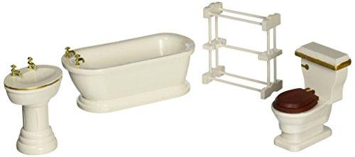 Melissa Doug Classic Wooden Dollhouse Bathroom Furniture 4 pcs - Tub Sink Toilet Towel Rack