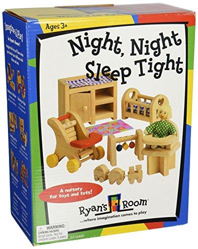 Small World Toys Ryans Room Wooden Doll House -Night Night Sleep Tight Nursery Room