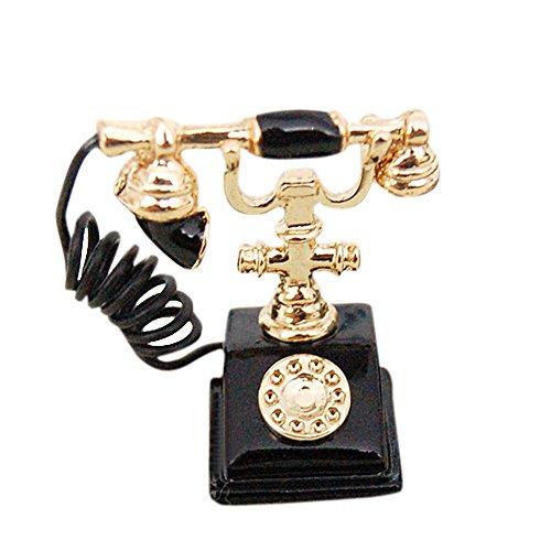 BESTLEE 112 Dollhouse Miniature Black Vintage Phone Miniature Dollhouse Furniture Accessories