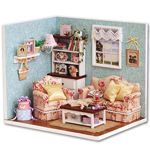 Flever Dollhouse Miniature DIY House Kit Creative Room With Furniture and Cover for Romantic Artwork GiftReunion With Happiness