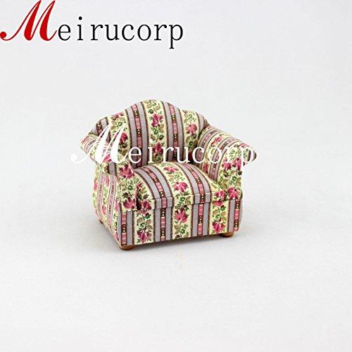 Retro 112 Scale Dollhouse Miniature Furniture High Quanlity Floral Single Sofa