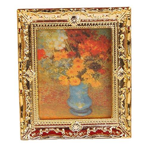 oil painting model - TOOGOOR112 Golden Plastic Frame Flower Oil Painters Miniature Dollhouse Furniture