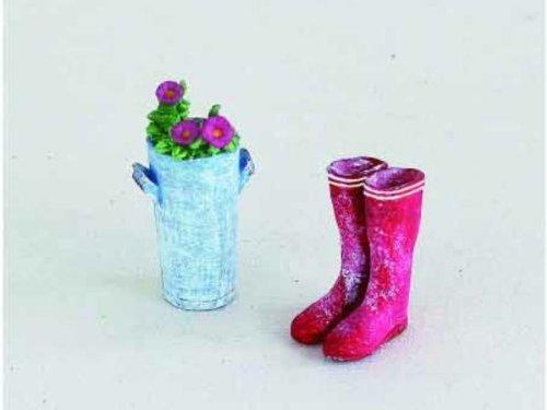 Miniature Garden Resin Boots Flower 2pcs set dollhouse figures ASDT2498