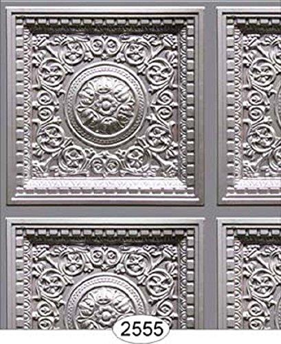 Dollhouse Wallpaper Ceiling Rosette Panel Silver