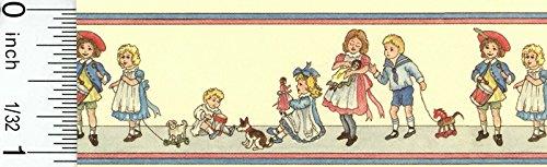 Dollhouse Wallpaper Nursery Border in Creme