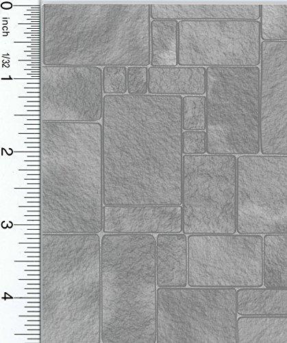 Dollhouse Wallpaper Worn Grey Flagstone