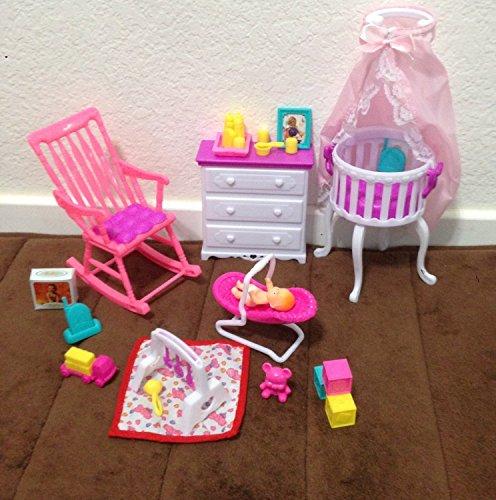 Barbie Size Dollhouse Furniture- Gloria Baby Home Nursery Set
