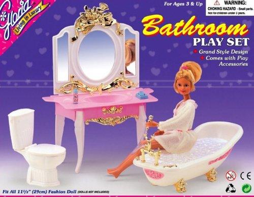 Barbie Size Dollhouse Furniture- Rose Princess Bathroom