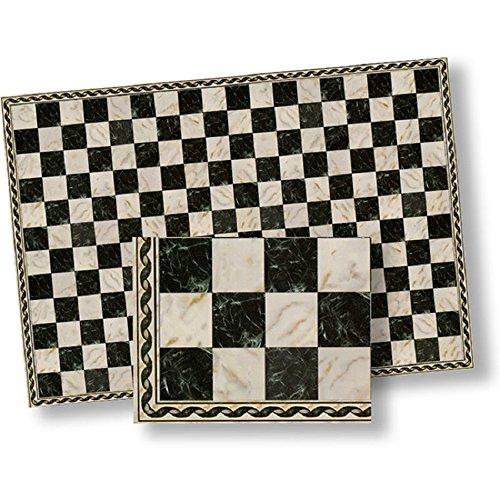 124 Dollhouse Flooring Faux Marble Black Checkered Floor Tile