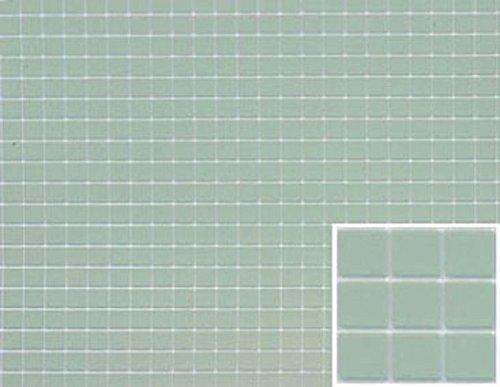 Dollhouse Miniature Square Tile Flooring in Sea Green Blue