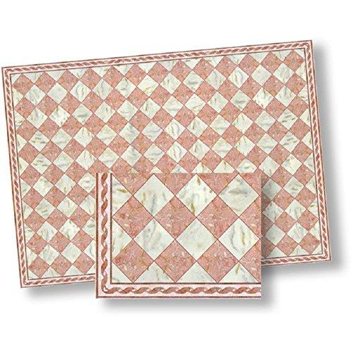 World Model Dollhouse Flooring Pink White Faux Marble Floor Tile