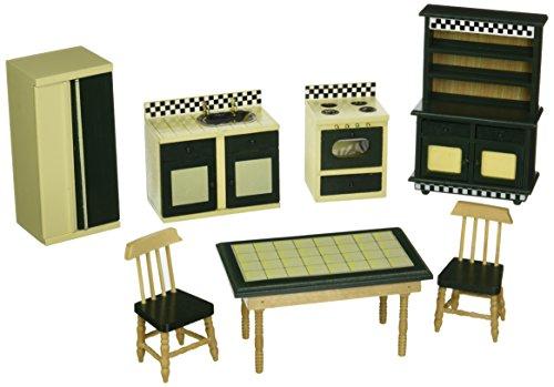 Melissa Doug 2582 Doll-House Kitchen Furniture Set of 7 Buttery YellowDeep Green