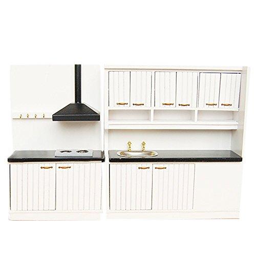 BESTLEE Dollhouse Miniature Kitchen Furniture Sink Cabinet and Range Hood Cabinet Set