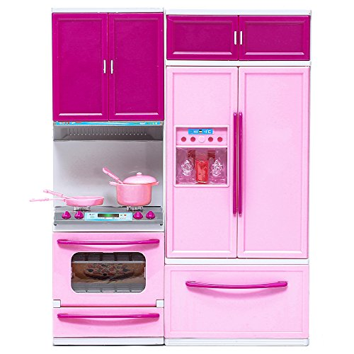 Barbie Size Dollhouse Kitchen Furniture Play Set with with Lights and Sounds