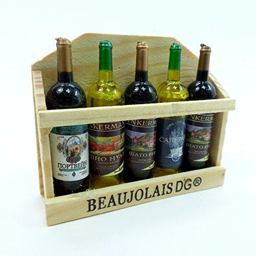 Miniature furniture wooden wine cellar wine five black DH-011 dollhouse Parts