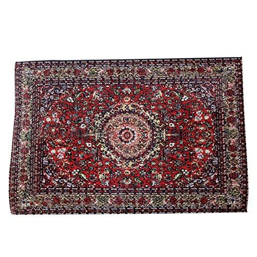BESTLEE 112 Dollhouse Miniature Red Woven Carpet Rug Blanket Furniture