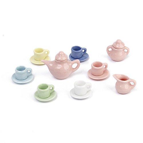 No brand goods dollhouse door tea set dish cup plate porcelain 15 points set handmade 112