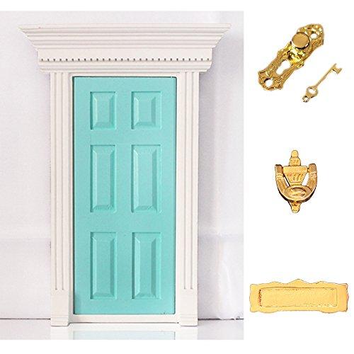 112 Dolls House Miniature Mint Green Fairy Wooden Door with Hardware