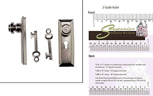 Dollhouse Door Knob WKey Plate 2Pk Satin Nickel
