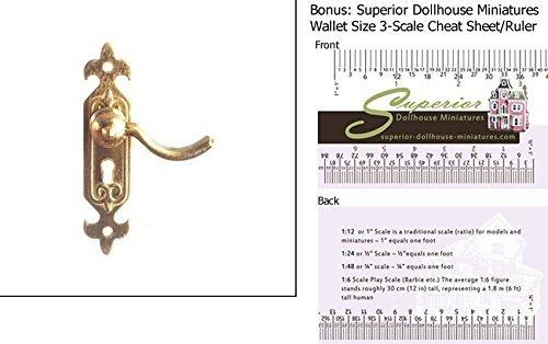 Dollhouse Door Lever HandleBrass wBONUS Wallet 3-Scale Ruler by Aztec Imports Inc