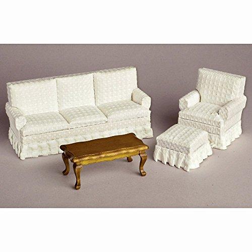 White Walnut Living Room Dollhouse Miniature Set