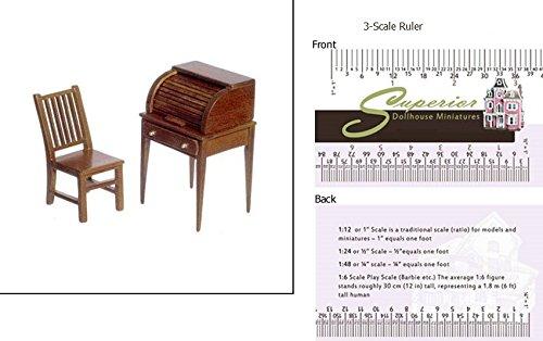 1 Scale Dollhouse Small Rolltop Desk Chr Walnut