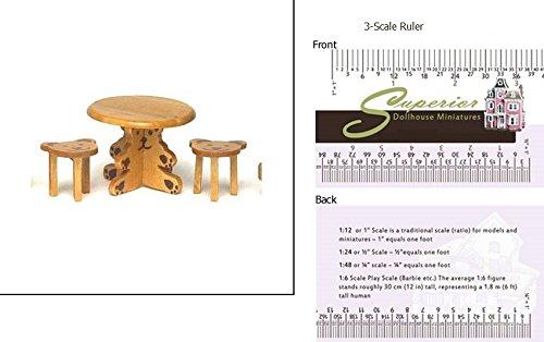 1 Scale Dollhouse Small Table W2 Bear Stools