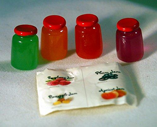 4 Pack - Dollhouse Miniature 1 Scale Assorted Fruit Jams - Jelly Jar Food Replicas - Raspberry - Plum - Pineapple - Apricot