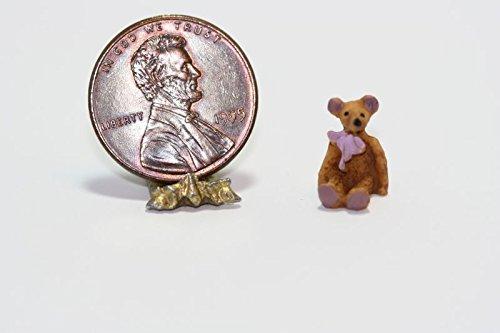Dollhouse Miniature Toy - 124 Scale Teddy Bear wLavender Ribbon