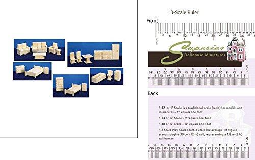 Dollhouse Miniature Toy Furniture 5 Room Set
