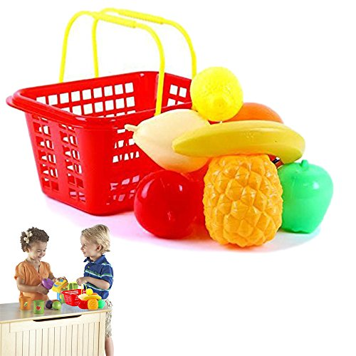Dazzling Toys Pretend Play Fruit Set with Shopping Basket for Kids - 9 Piece Set