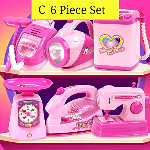 Debuy 6 Pcs Children Kitchen Appliance Toys with Light Music Plastic Girl Pretend Play Toy Set Kid Gift