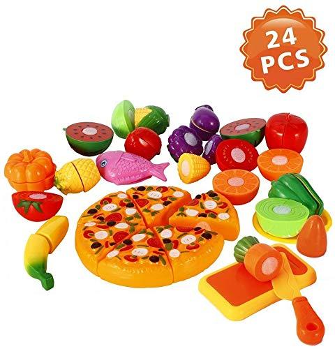 Funslane Pretend Play Food Set 24 Pcs Cutting Food Play Set for Kids Kitchen Food Toys Fun Cutting Pizza Fruits Vegetables
