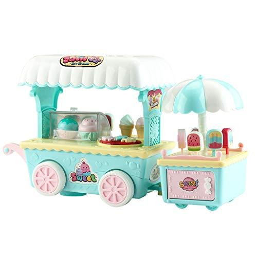 Auwish Ice Cream Cart  Kids Pretend Play Food Dessert Mini Truck Playset Cupcake Stand Realistic Toys Ice Cream Mini Car Multicolor