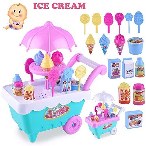 FidgetKute Children Gifts Mini Ice Cream Cart Play Set Kids Pretend Play Food Puzzle Toys Show One Size