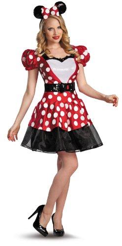 Disguise Womens Disney Mickey Mouse Glam Minnie Costume RedWhiteBlack Medium8-10