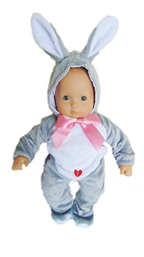 My Brittanys Grey Easter Bunny Costume for Bitty Baby Dolls