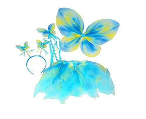 Blue Green Neon Fairy Butterfly Costume Tutu Set 4 pc