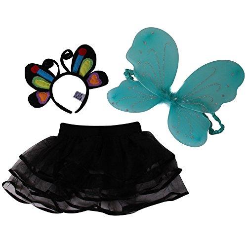 Girls 3 Pack Costume Set - Butterfly Headband Black Chiffon Tutu and Butterfly Wings RainbowBlackTurqouise