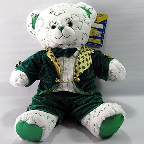 Build A Bear Shamrock Teddy Bear Plush - Retired Shimmer Bear - in St Patricks Lucky Irish Leprechaun Costume Plush