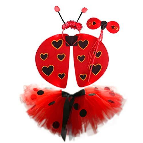 Amosfun 4pcs Ladybug Tutu Skirt Halloween Ladybug Wings Costume Ladybug Headband Fairy Wand Set Kids Performance Cosplay Costumes Size L