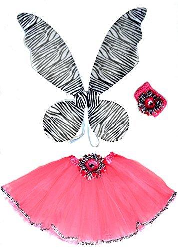 4 Pc Zebra and Hot Pink Girls Fairy Halloween Costume
