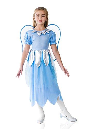 Kids Girls Blue Fairy Halloween Costume Elf Butterfly Pixie Dress Up Role Play 3-6 years light blue silver